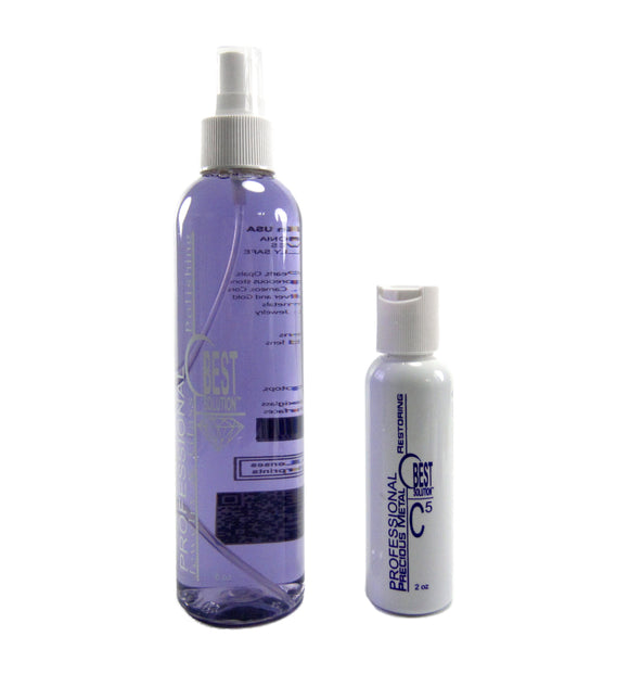 BEST SOLUTION Jewelry Cleaner 8oz Spray Bottle with C5 Metal Polish 2oz Bottle