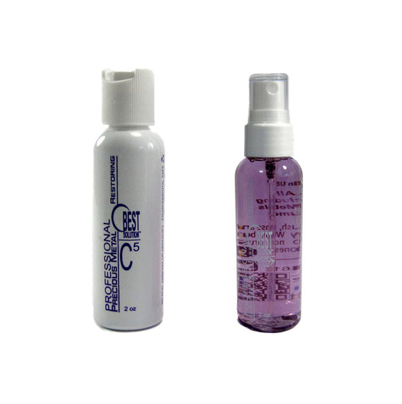 BEST SOLUTION Jewelry Cleaner 2oz Spray Bottle with C5 Metal Polish 2oz Bottle