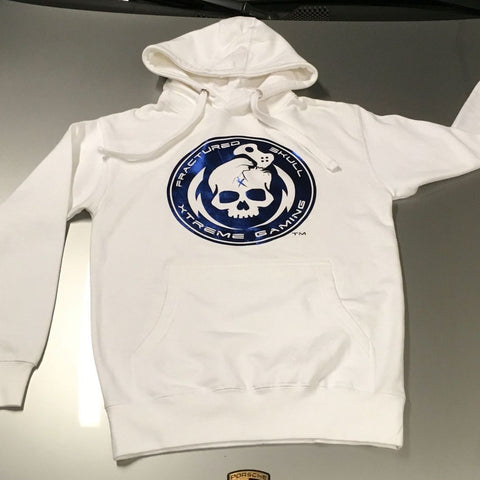 White with Blue Metallic Hoodie