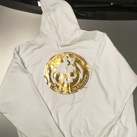 Metallic Gold on White Hoodie