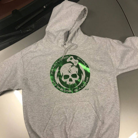 Fractured Skull Xtreme Metallic Green on Heather Gray Hoodie