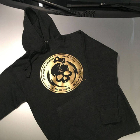 Fractured Skull Xtreme Flat Gold on Dark Gray Hoodie