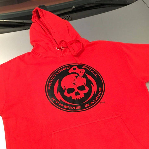 Fractured Skull Xtreme Black on Red Hoodie