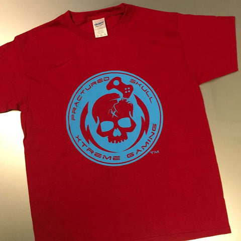 Fractured Skull Xtreme Bubblegum Blue on Red Tee
