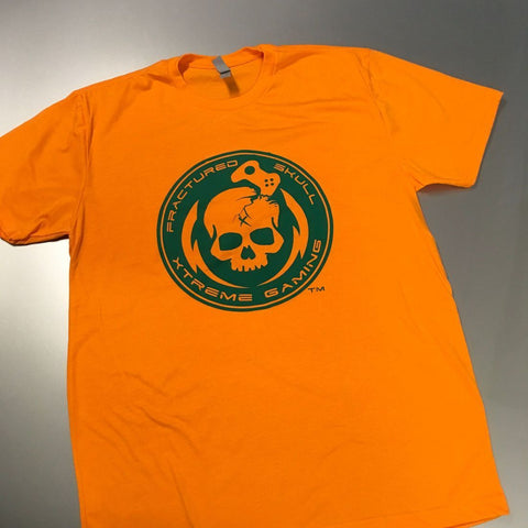 Fractured Skull Xtreme Green on Orange Tee
