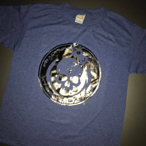 Fractured Skull Xtreme Metallic Silver on Blue Gray Tee