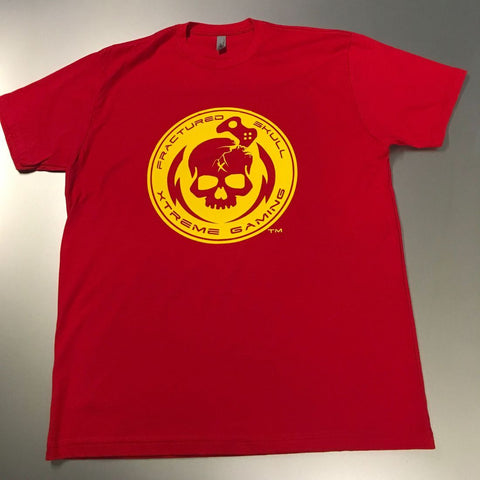 Fractured Skull Xtreme Yellow on Red Tee