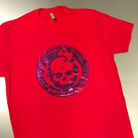 Fractured Skull Xtreme Metallic Purple on Red Tee
