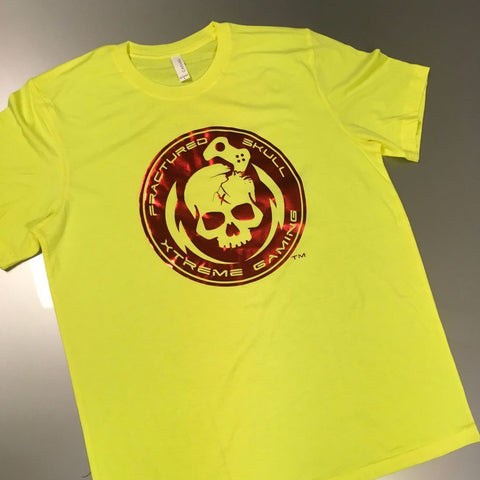 Fractured Skull Xtreme Metallic Red on Yellow Tee