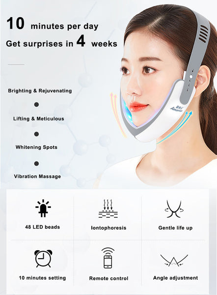 V face, facial massager, lift belt, V-face lift belt, V face shaping, beauty instrument, double chin firm lift up, led mask, face lifting, blue ray LED mask, red ray LED mask,