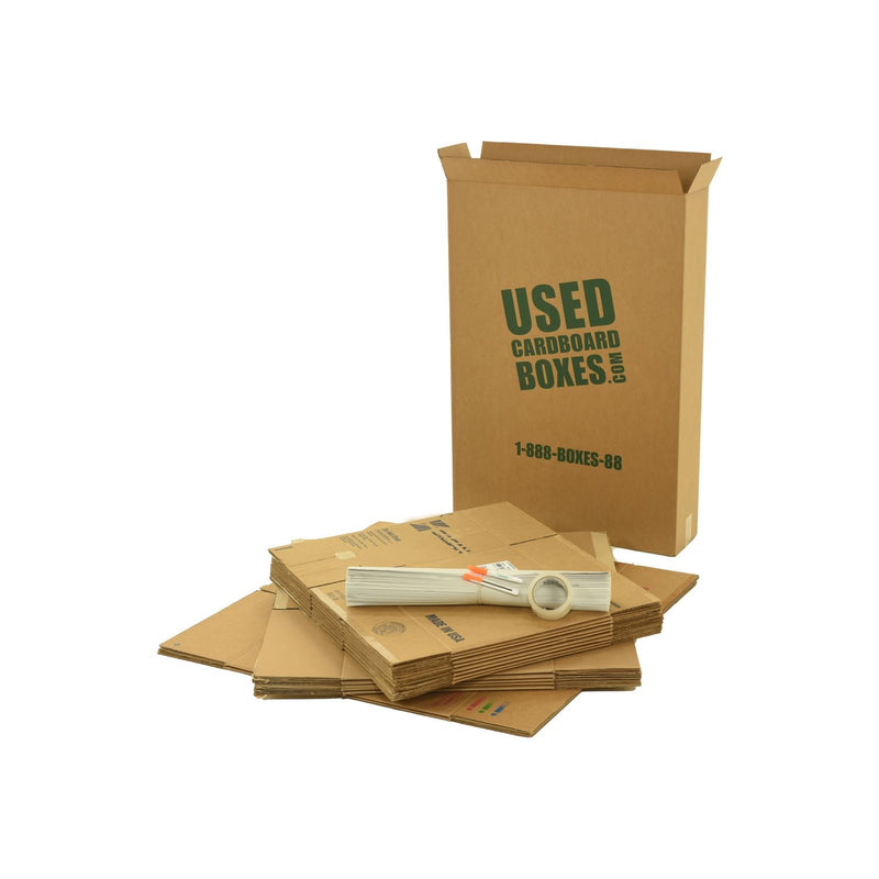Various sizes of used moving and storage boxes shown flattened, along with included supplies, in a Studio or Dorm Room Moving Kit (BASIC) by UsedCardboardBoxes.