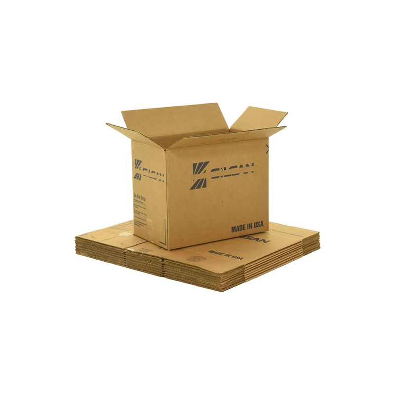 Medium sized used moving and storage boxes shown assembled and flattened which are included in a Studio or Dorm Room Moving Kit (BASIC) by UsedCardboardBoxes.
