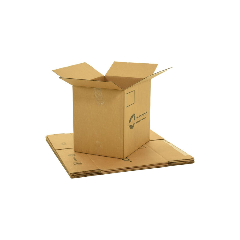 Large sized used moving and storage boxes shown assembled and flattened which are included in a Studio or Dorm Room Moving Kit (SUPER) by UsedCardboardBoxes.