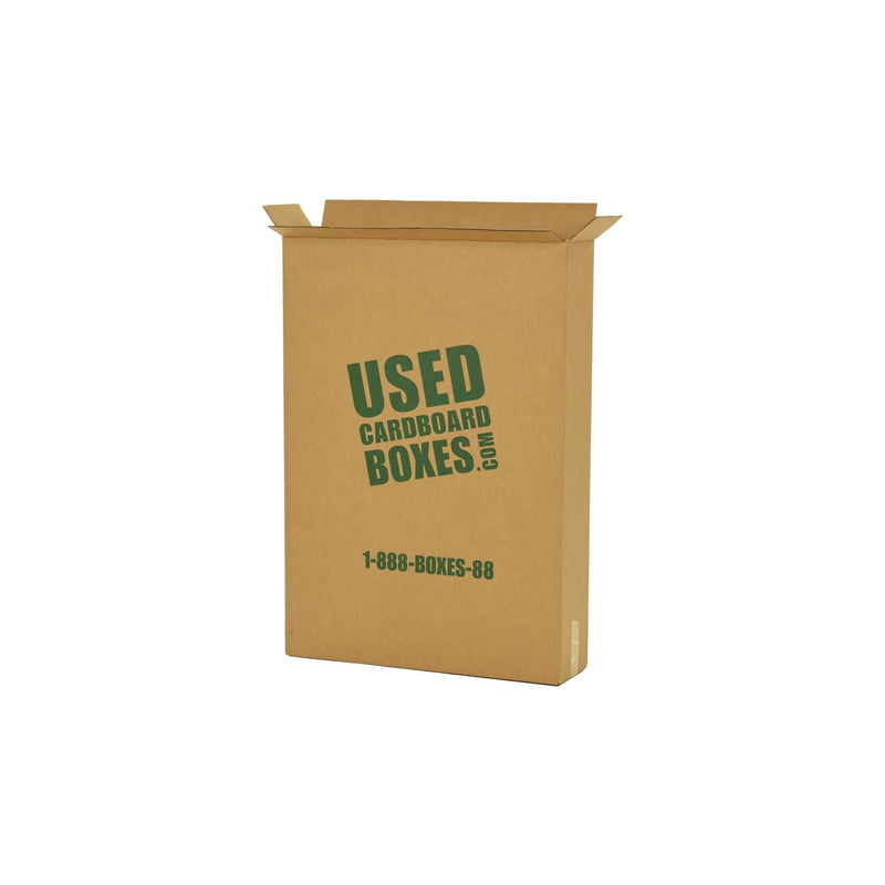 Shipping box used to transport all included used moving boxes and rolls of tape in a Medium Moving Boxes Kit by UsedCardboardBoxes. This shipping box can be re-used for tall and thin picture frames, televisions (TV), and even mirrors.