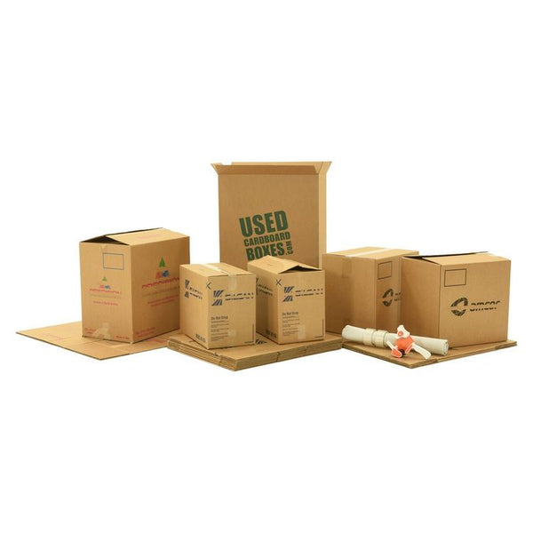 Various sizes of used moving and storage boxes shown assembled and flattened, along with included supplies, in a Studio or Dorm Room Moving Kit (SUPER) by UsedCardboardBoxes.