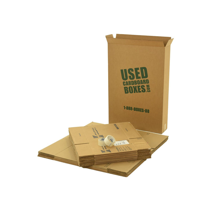 Various sizes of used moving and storage boxes shown flattened, along with included tape rolls, in a Pack Rat Moving Kit by UsedCardboardBoxes.
