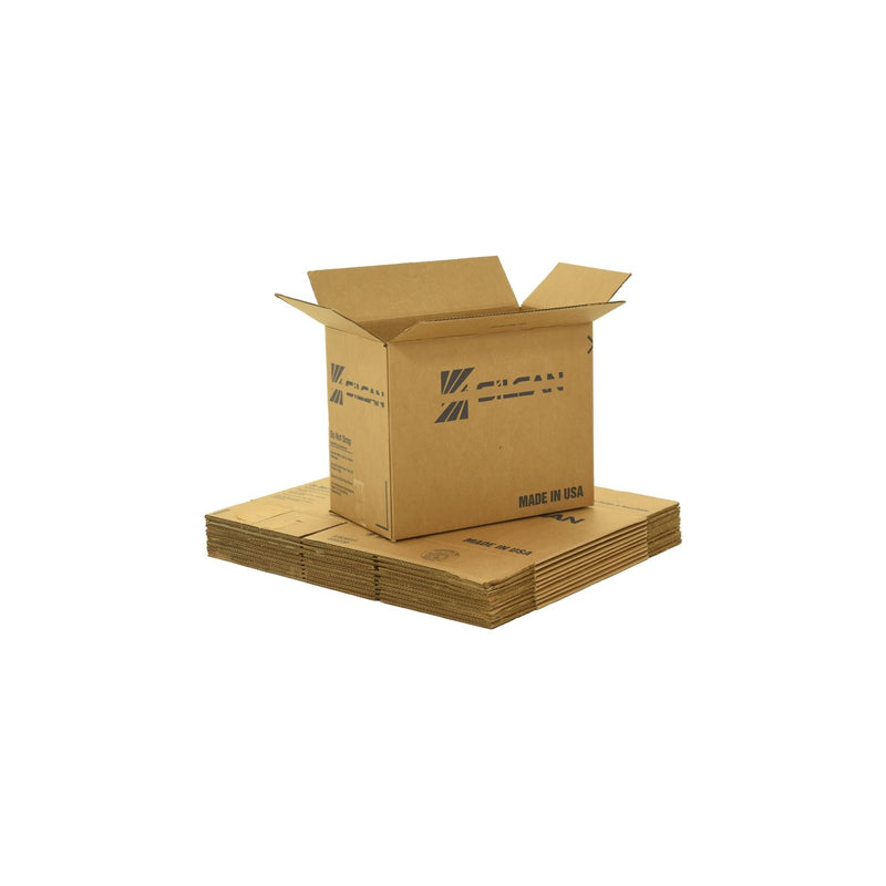 Medium sized used moving and storage boxes shown assembled and flattened which are included in a Pack Rat Moving Kit by UsedCardboardBoxes.