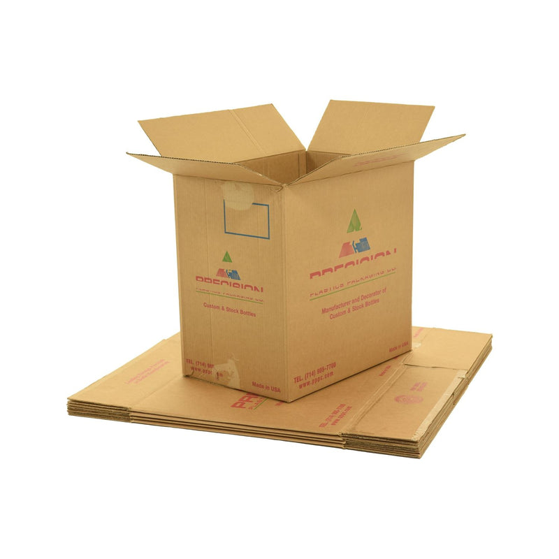 X-Large (XL) sized used moving and storage boxes shown assembled and flattened which are included in a Pack Rat Moving Kit by UsedCardboardBoxes.