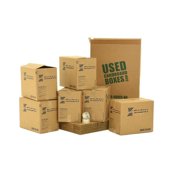 Various sizes of used moving and storage boxes shown assembled and flattened, along with included tape rolls, in a Medium Moving Boxes Kit by UsedCardboardBoxes.