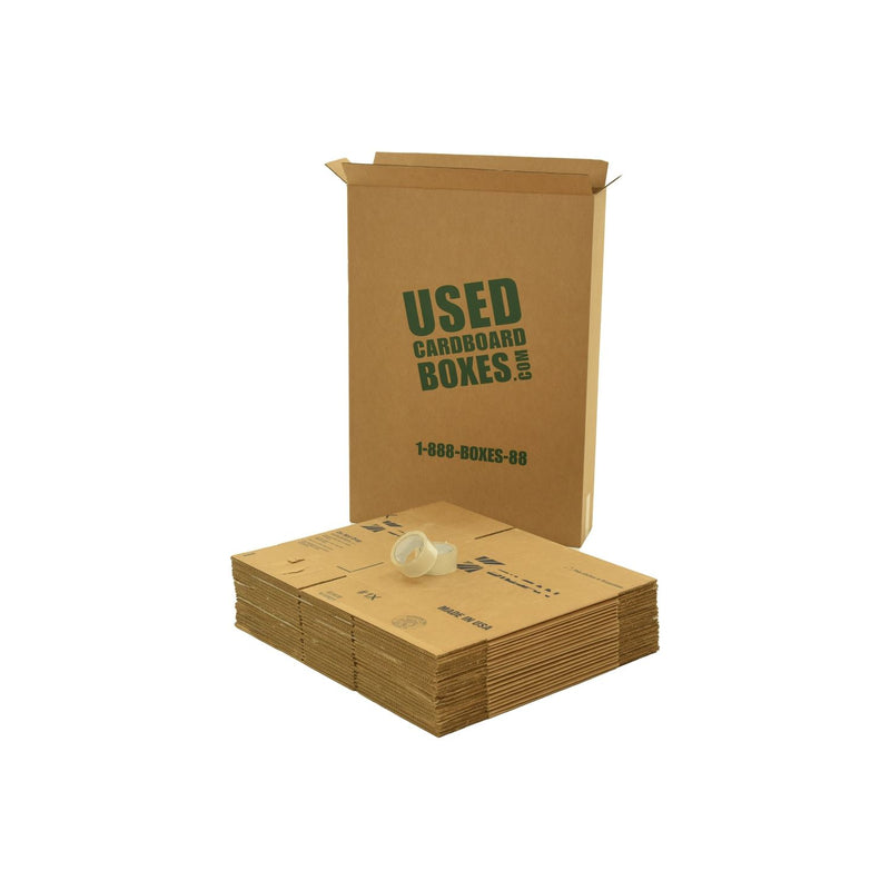 Various sizes of used moving and storage boxes shown flattened, along with included tape rolls, in a Medium Moving Boxes Kit by UsedCardboardBoxes.