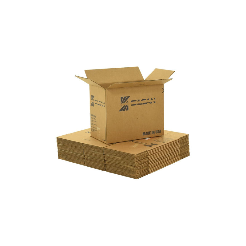 Medium sized used moving and storage boxes shown assembled and flattened which are included in a Medium Moving Boxes Kit by UsedCardboardBoxes.