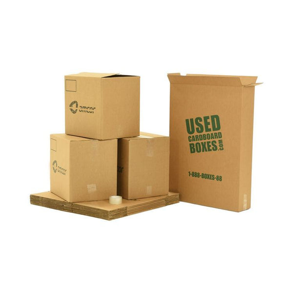 Various sizes of used moving and storage boxes shown assembled and flattened, along with included tape rolls, in a Large Moving Boxes Kit by UsedCardboardBoxes.