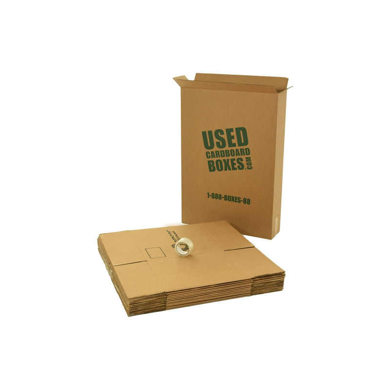 Various sizes of used moving and storage boxes shown flattened, along with included tape rolls, in a Large Moving Boxes Kit by UsedCardboardBoxes.