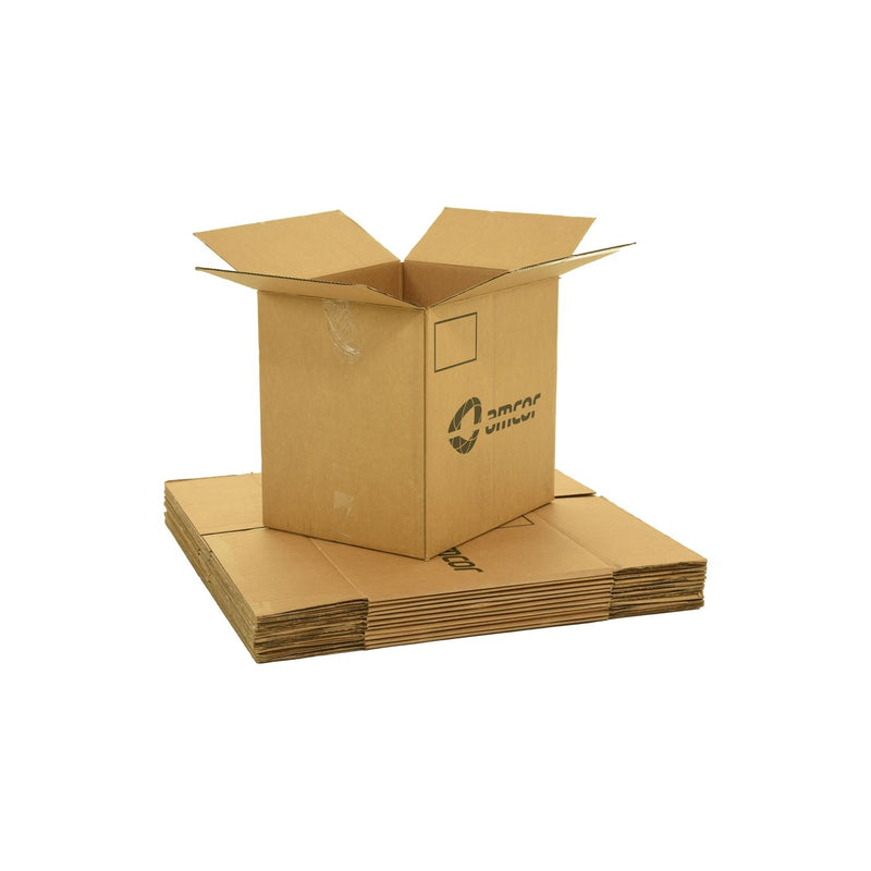 Large sized used moving and storage boxes shown assembled and flattened which are included in a Large Moving Boxes Kit by UsedCardboardBoxes.