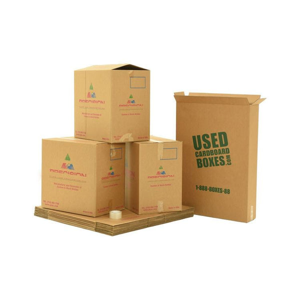 Various sizes of used moving and storage boxes shown assembled and flattened, along with included tape rolls, in a X-Large Moving Boxes Kit by UsedCardboardBoxes.