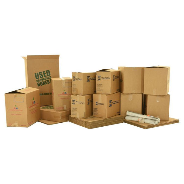 Various sizes of used moving and storage boxes shown assembled and flattened, along with included supplies, in a 1 Bedroom Moving Kit by UsedCardboardBoxes.