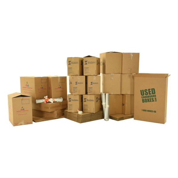 Various sizes of used moving and storage boxes shown assembled and flattened, along with included supplies, in a 2 Bedroom Moving Kit by UsedCardboardBoxes.