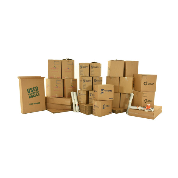 Various sizes of used moving and storage boxes shown assembled and flattened, along with included supplies, in a 3 Bedroom Moving Kit by UsedCardboardBoxes.