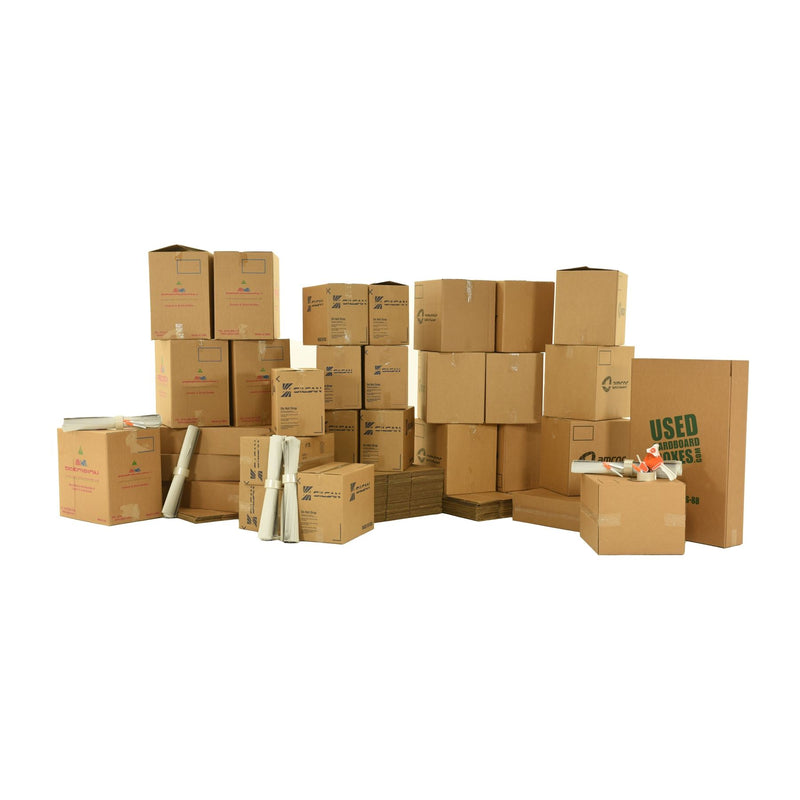 Various sizes of used moving and storage boxes shown assembled and flattened, along with included supplies, in a 4 Bedroom Moving Kit by UsedCardboardBoxes.