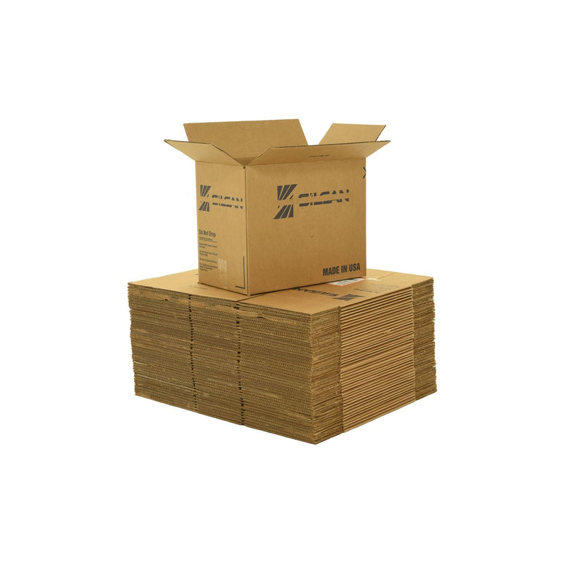 Medium sized used moving and storage boxes shown assembled and flattened which are included in a 4 Bedroom Moving Kit by UsedCardboardBoxes.