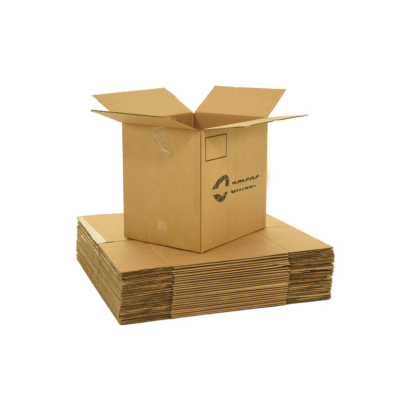 Large sized used moving and storage boxes shown assembled and flattened which are included in a 4 Bedroom Moving Kit by UsedCardboardBoxes.