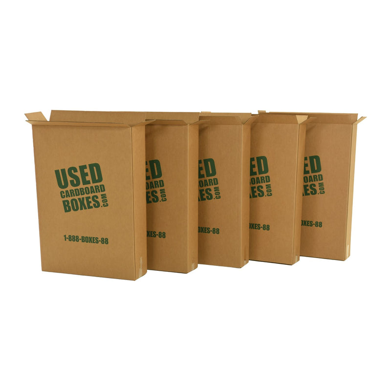 Shipping boxes used to transport all included used moving boxes and moving supplies in a 4 Bedroom Moving Kit by UsedCardboardBoxes. These shipping boxes can be re-used for tall and thin picture frames, televisions (TV), and even mirrors.
