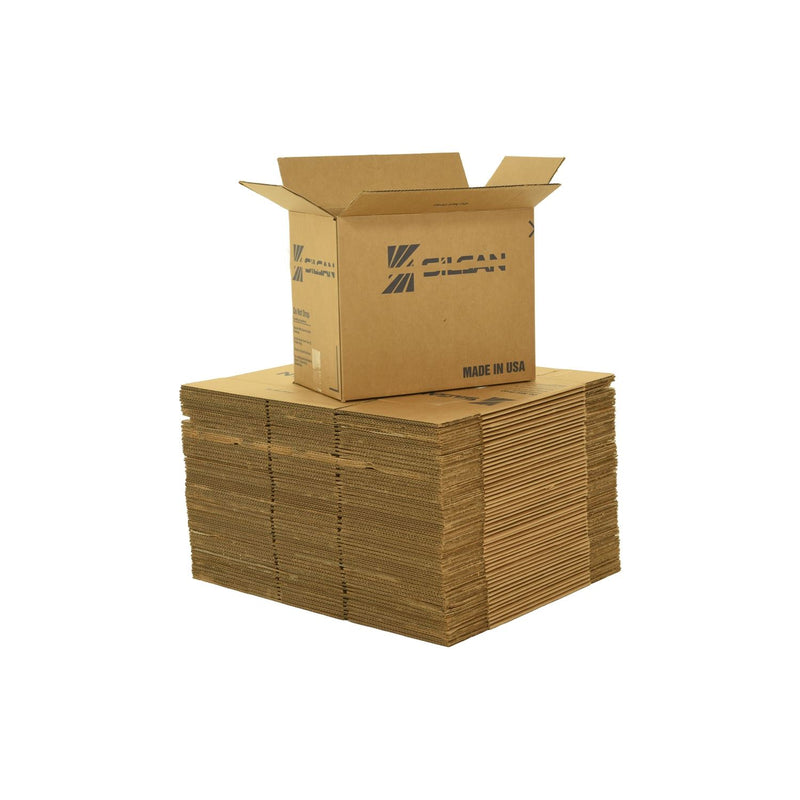 Medium sized used moving and storage boxes shown assembled and flattened which are included in a 6 Bedroom Moving Kit by UsedCardboardBoxes.