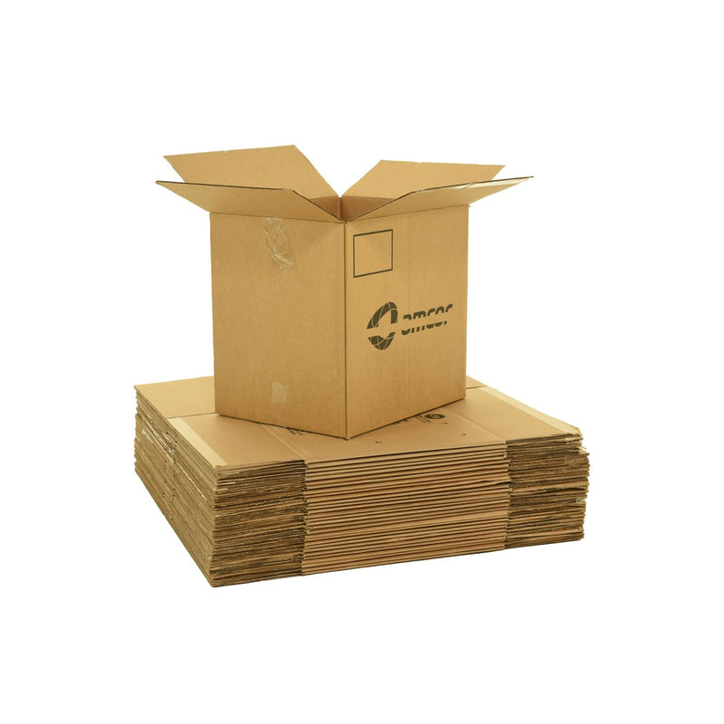 Large sized used moving and storage boxes shown assembled and flattened which are included in a 6 Bedroom Moving Kit by UsedCardboardBoxes.