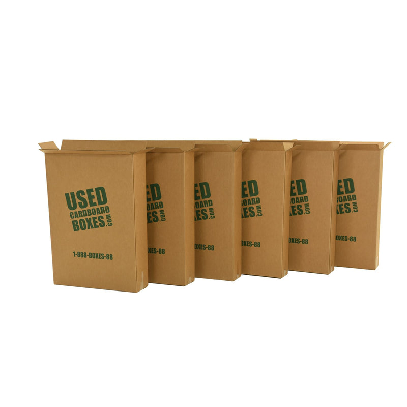 Shipping boxes used to transport all included used moving boxes and moving supplies in a 6 Bedroom Moving Kit by UsedCardboardBoxes. These shipping boxes can be re-used for tall and thin picture frames, televisions (TV), and even mirrors.