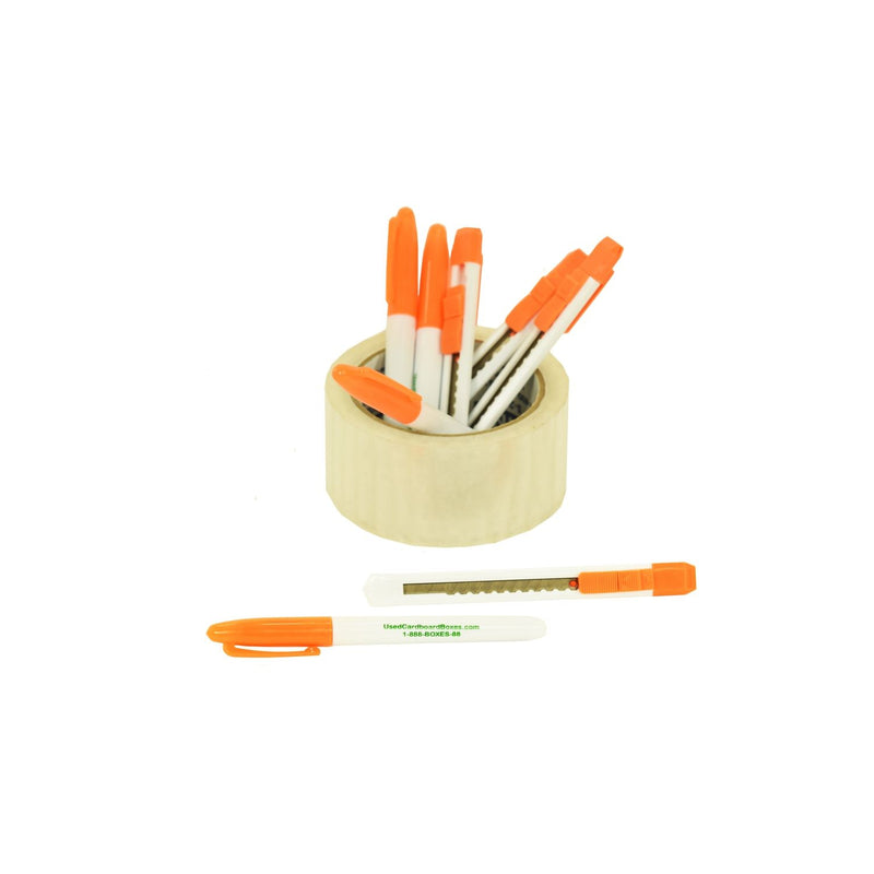 4 permanent markers and 4 retractable blade utility knives, also known as a box or tape cutters, included in a 4 Bedroom Moving Kit by UsedCardboardBoxes. The markers will help you label your moving boxes and the box cutters will help you cut the tape to open the boxes the unpack them.