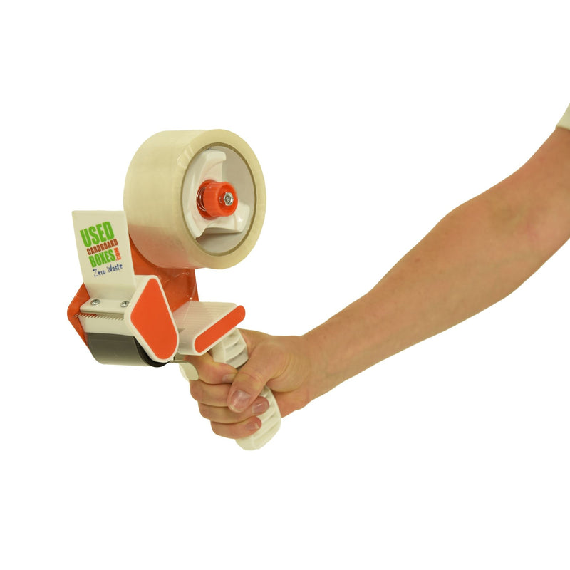 A tape dispenser, also known as a tape gun, which utilizes rolls of tape which are 2 inches wide, included in a 4 Bedroom Moving Kit by UsedCardboardBoxes.