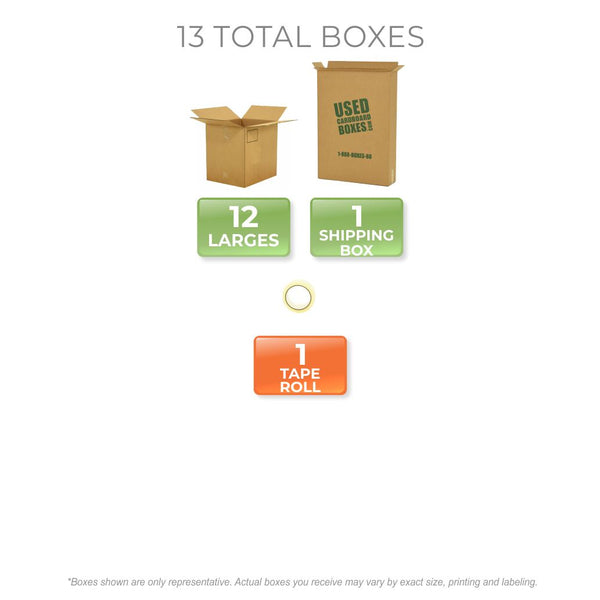 Graphic of all used moving boxes and tape rolls included in a Large Moving Boxes Kit by UsedCardboardBoxes.