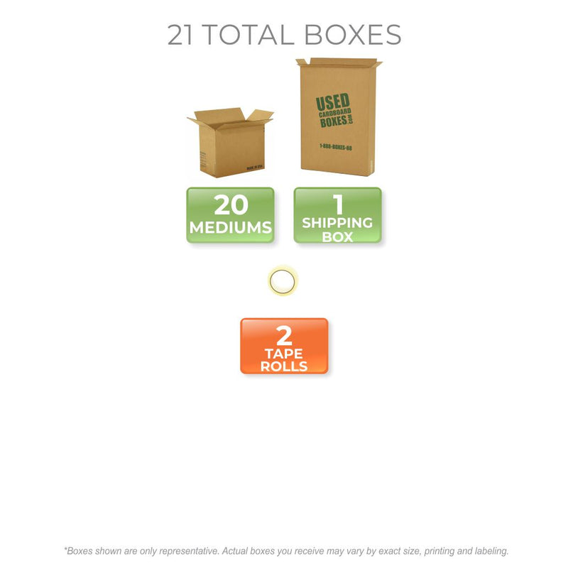 Graphic of all used moving boxes and tape rolls included in a Medium Moving Boxes Kit by UsedCardboardBoxes.