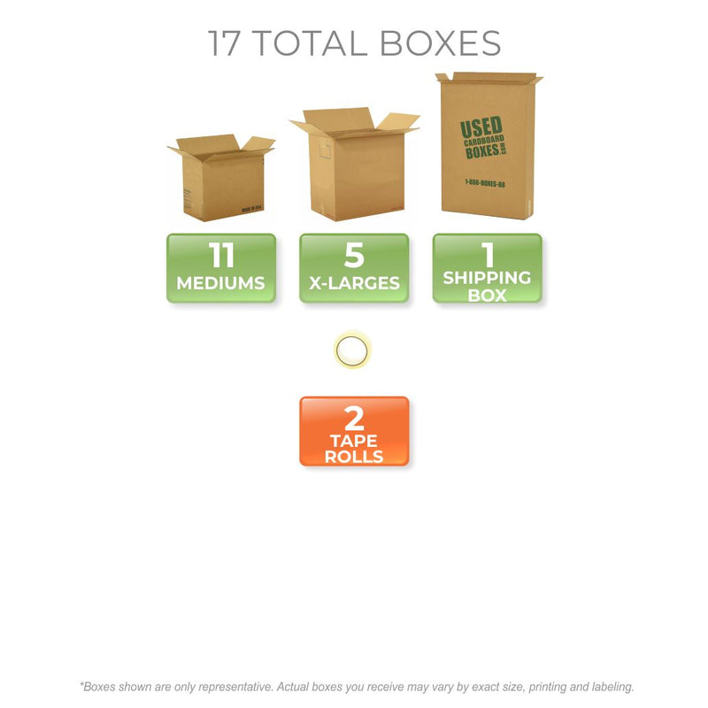 Graphic of all used moving boxes and tape rolls included in a Pack Rat Moving Kit by UsedCardboardBoxes.