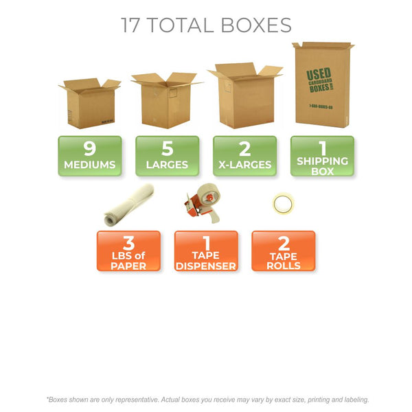 Graphic of all used moving boxes and moving supplies included in a Studio or Dorm Room Moving Kit (SUPER) by UsedCardboardBoxes.