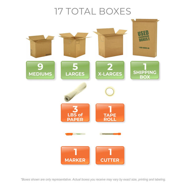 Graphic of all used moving boxes and moving supplies included in a Studio or Dorm Room Moving Kit (BASIC) by UsedCardboardBoxes.