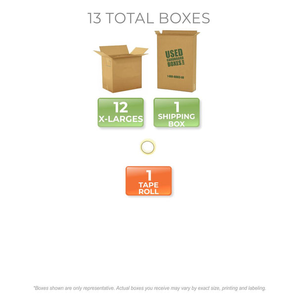 Graphic of all used moving boxes and tape rolls included in a X-Large Moving Boxes Kit by UsedCardboardBoxes.