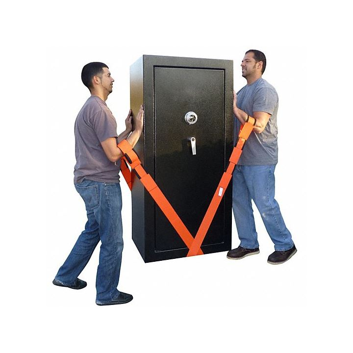 2 men using Forearm Forklift lifting straps, ordered from UsedCardboardBoxes, to lift a large safe.
