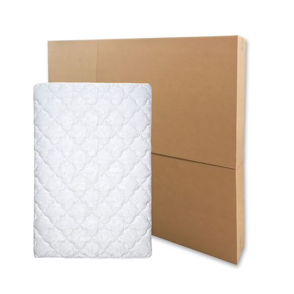 "Brand new bed mattress boxes, 2 pieces fit together to accommodate a mattress between 80""x12.5""x40"" to 80""x12.5""x79"", by UsedCardboardBoxes."