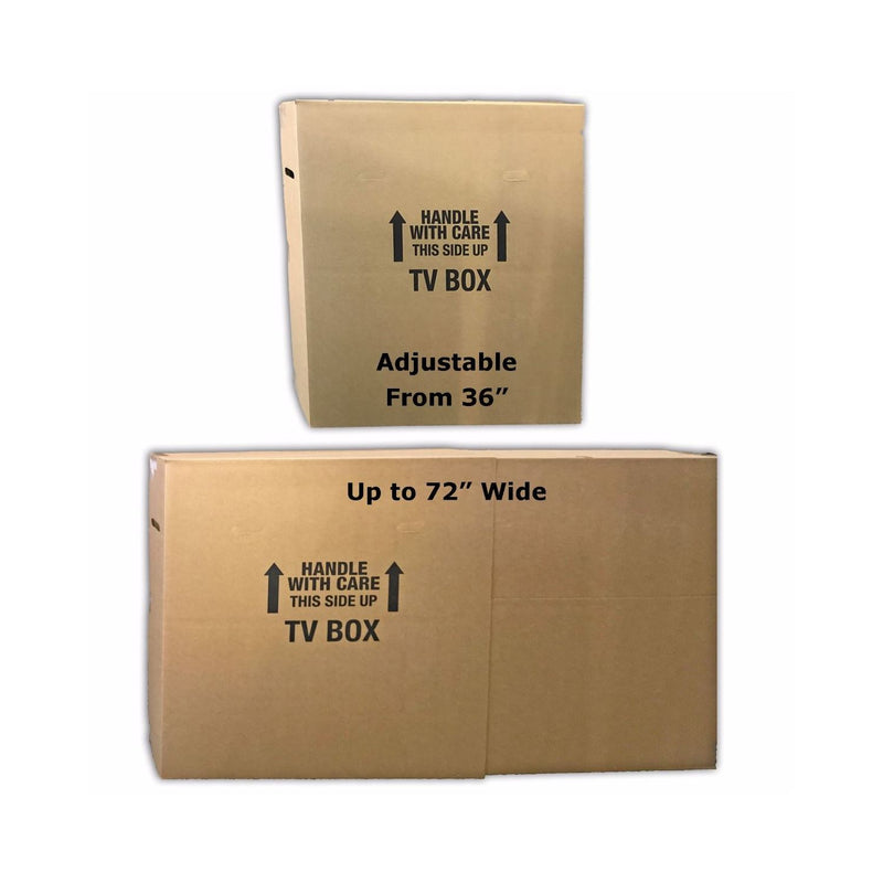 "Brand New Flat Screen TV Boxes (2-pack) by UsedCardboardBoxes. Boxes are adjustable to accommodate 36"" to 72"" wide."